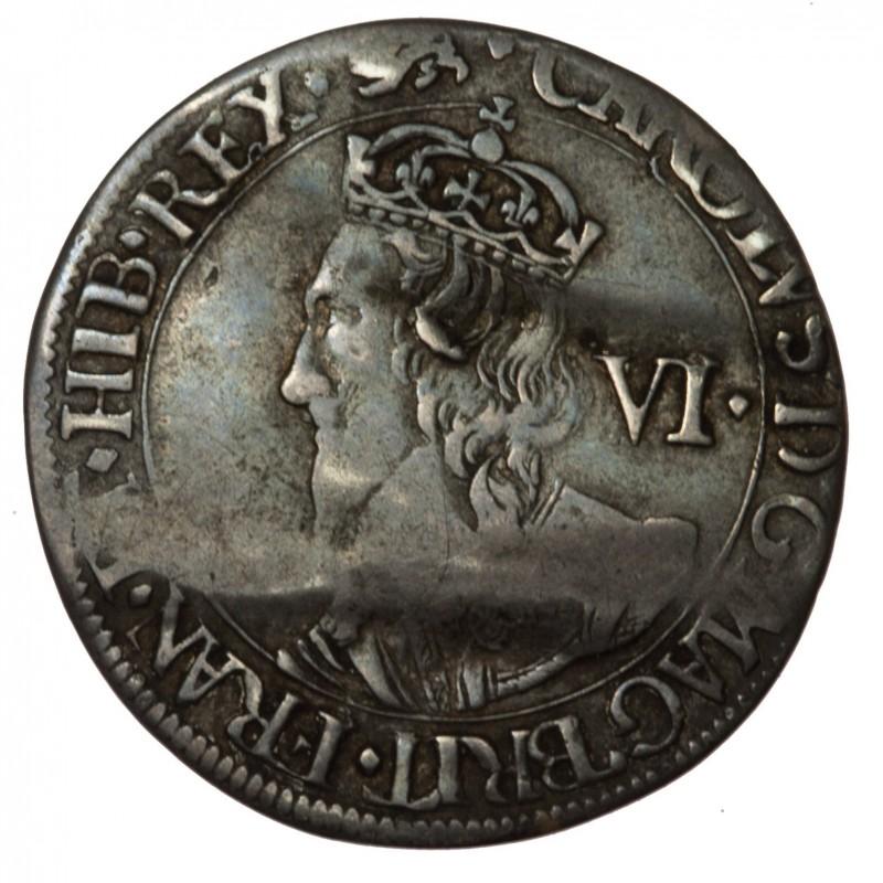 Charles I York Silver Sixpence
