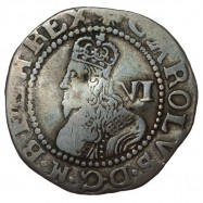 Charles I Exeter Silver Sixpence