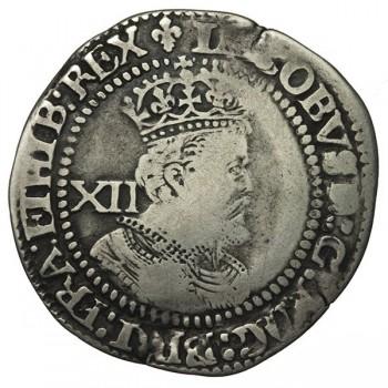 James I Silver Shilling - Plume over shield
