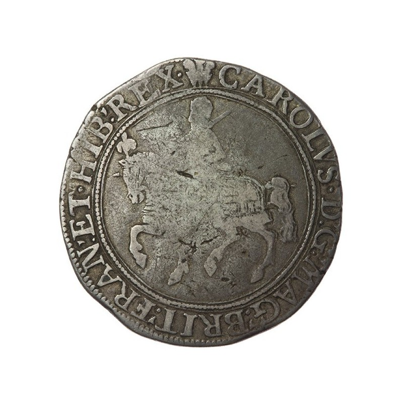 Charles I Silver Halfcrown CR divided by rose