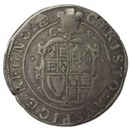 Charles I Silver Halfcrown CR divided by plume