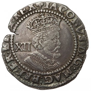 James I Silver Shilling - Plume over shield